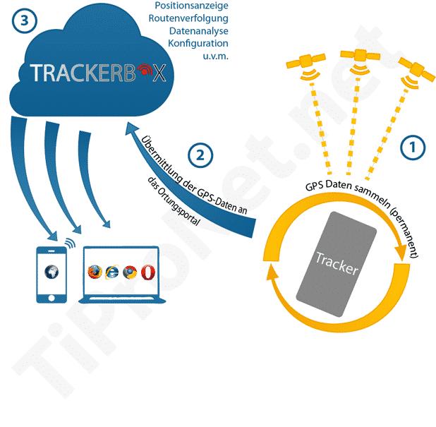 Funktionsweise des Trackings: Tracker sammelt via Satelliten Daten, übermittelt diese an Ortungsportal