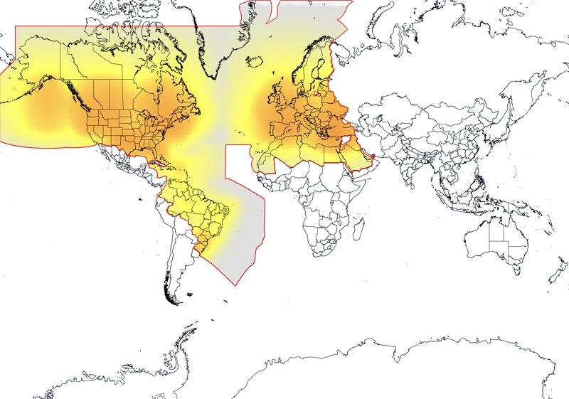 Netzabdeckung der Globalstar Europe Home Zone