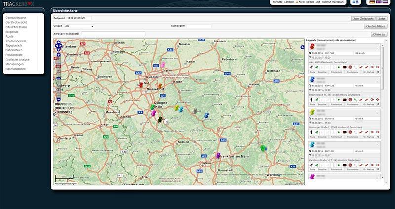 Übersicht der Funktionen der Trackerbox