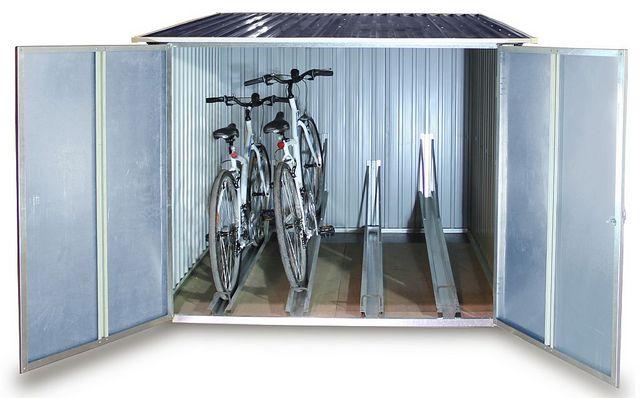 Beispiel: Fahrradbox aus Metall mit zwei Fahrrädern