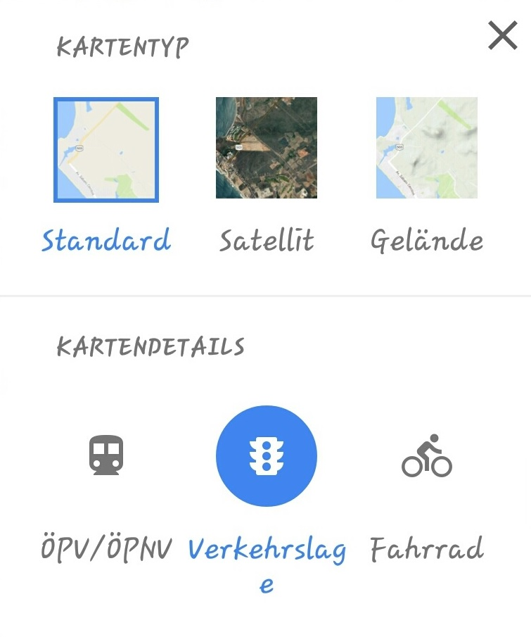 Verkehrslage bei Google
