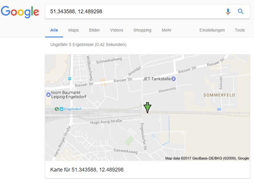Koordinaten in einer Google-Karte